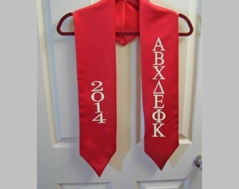 RED Embroidered Satin Graduation Stole