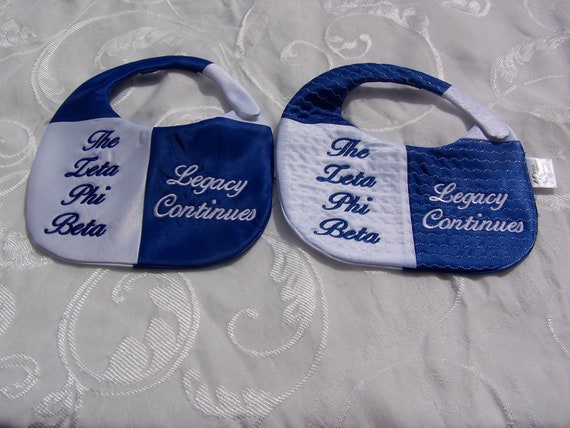 Zeta Phi Beta Greek Letter/English Words Embroidered Baby Girl Reversible Satin Bib w Sorority Name Legacy Continues/ or Monogram