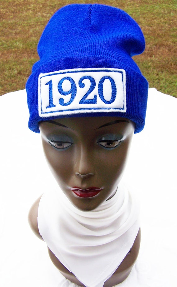 ZETA PHI BETA Greek Letter or 1920  Monogrammed Acrylic Knit Beanie/Patched Beanie/Zeta Phi Beta Embroidered Cuffed Beanie/Royal Blue Beanie