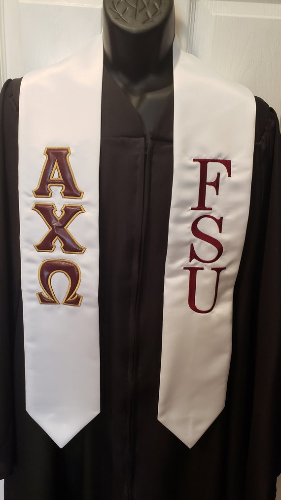 FSU Custom embroidered white satin stoles w AXO Greek Letter applique and FSU Embroidery