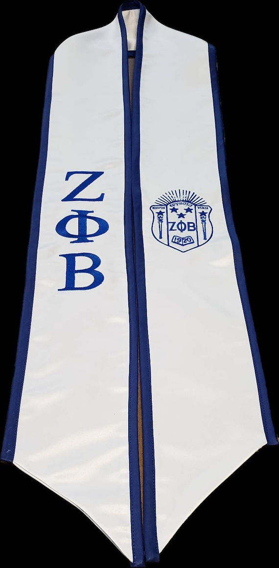 Zeta Phi Beta white satin graduation stole w royal blue trim/Greek Letters &Shield embroidered stole