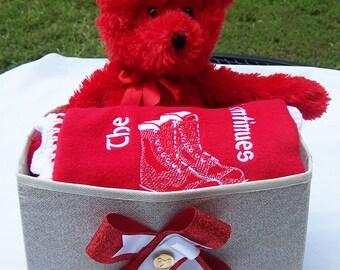 Future KAPPA  ALPHA PSI  Fleece Blanket with Crochet Edge, Plush Toy& Storage Container 3 Piece Gift Set