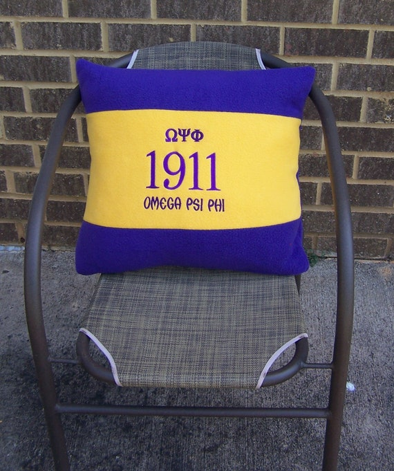 "OMEGA PSI PHI 20"" Greek Letter Embroidered Purple & Gold Pillow"