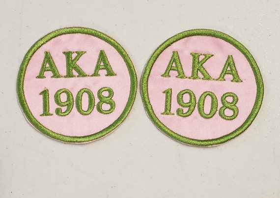 "Alpha Kappa Alpha 1908/AKA 1908/  3"" round Embroidered Greek Letter Patch/Pink Satin Iron On Patch/Embroidered Sorority Patch"