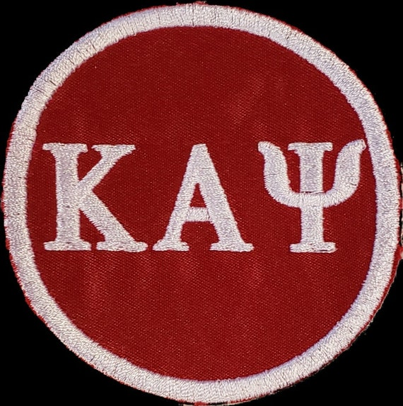 "KAPPA ALPHA PSI 3"" Red Patch 3""inch round /Red Satin w White Embroidery/Iron On Nupe PatchRed/White Embroidered Round Iron/Sew On Patch"