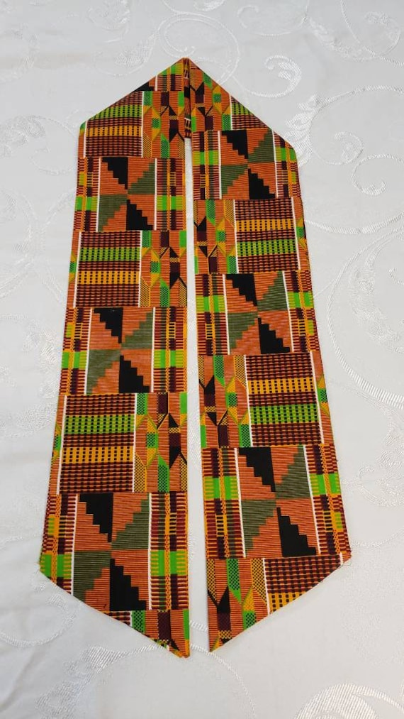 Kente print unisex Stole-Mask Set/African Kente Print  Stole/kente stole/BLM Stole/Orange Brown Kente/Green Yellow Kente Stole