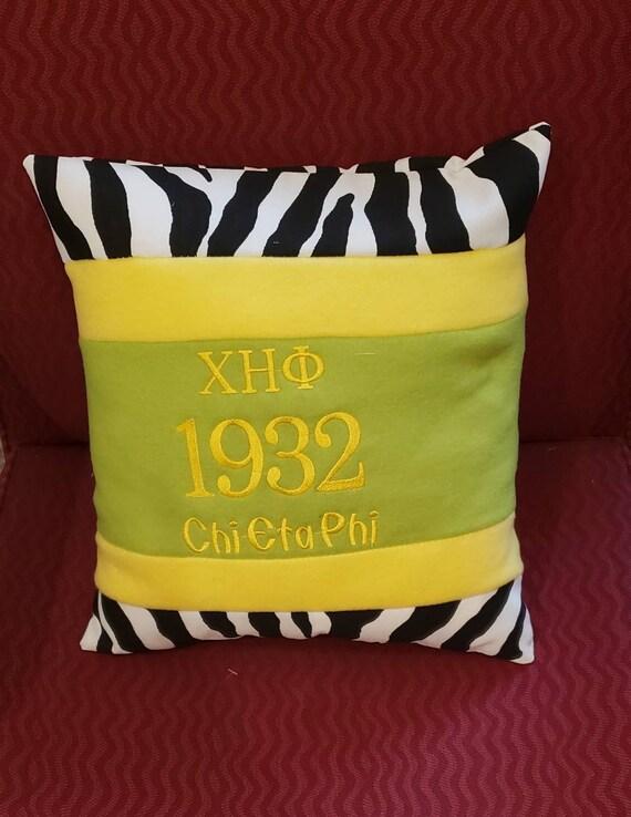 "Chi Eta Phi Nurses Sorority Greek Letter w Turtle 16"" Zebra print Blocked Green & Yellow Pillow/Chi Eta Phi 16"" Pillow/Black Nurses Sorority"