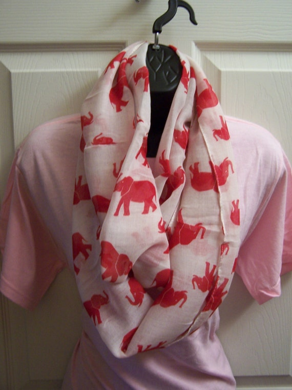 White with Red Trunks Up Elephants Print Infinity Scarf/Red Elephants on White Gauze Print Infinity Scarf