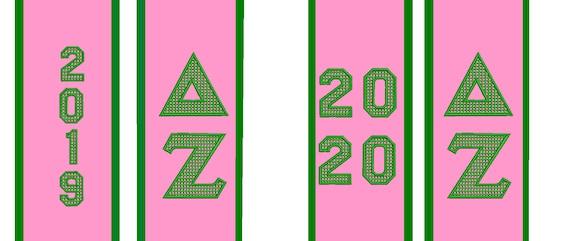 DELTA ZETA AKA Pink, Emerald,Lime Green Satin Graduation Stole Embroidered Mega Greek Letters/ Class Year/Shield/Alpha Kappa Alpha Stole