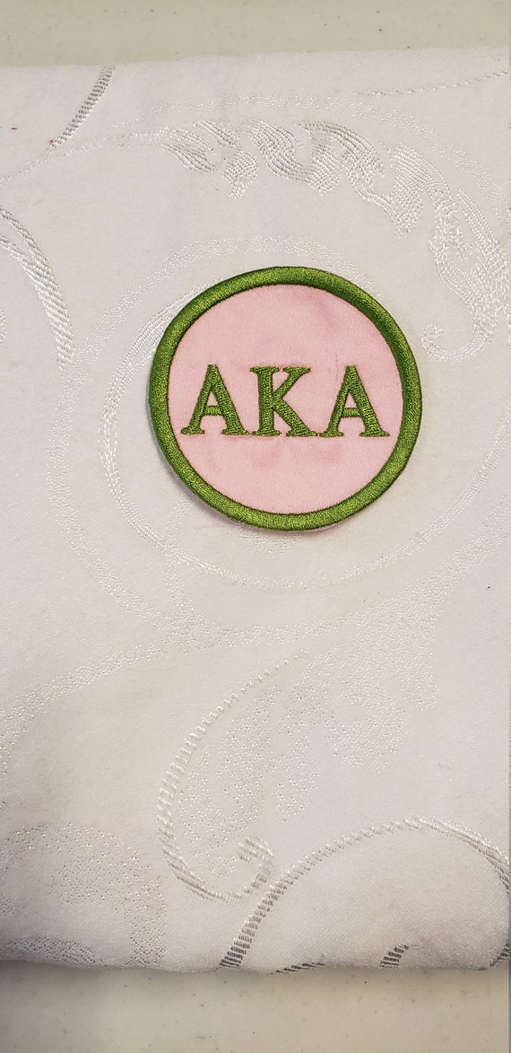"Alpha Kappa Alpha/AKA/  3"" round Embroidered Greek Letter Patch/Pink Satin Iron On Patch/Embroidered Sorority Patch"