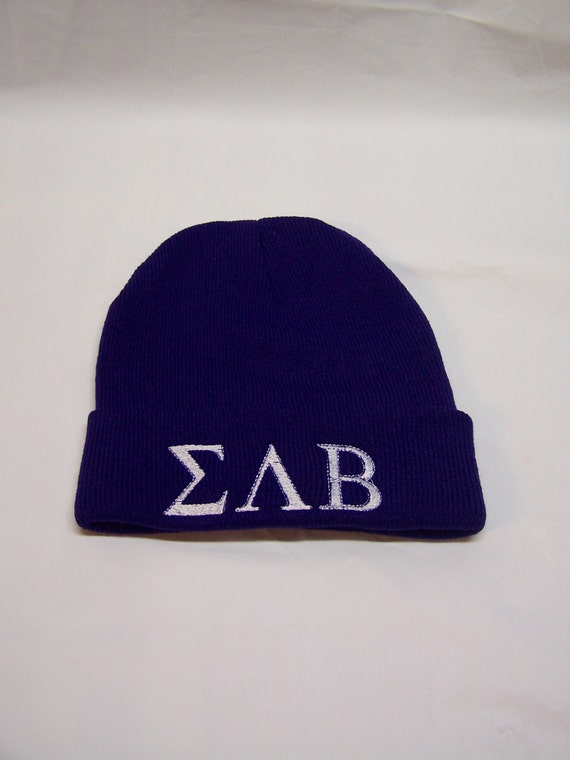 SIGMA LAMBDA BETA Purple Embroidered Greek Letter Monogrammed Acrylic Knit Beanie