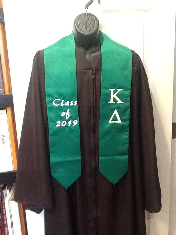 EMERALD GREEN  Graduation Stole/Sash-Class of 2019 2020/Kappa Delta Graduation Sash/High School Stole/Greek Letter Stole