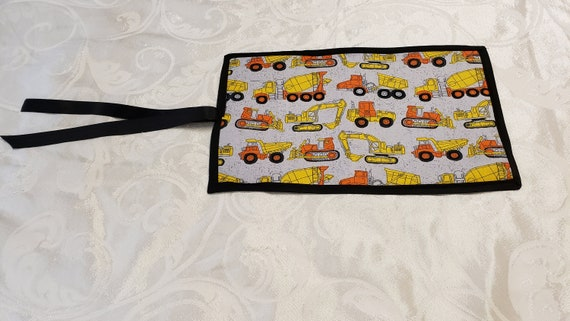 CONSTRUCTION TOY TRUCK Cotton Print/Portable Roll up Chalk Board, Blackboard Drawing Mat/Children's Drawing Pad/stocking stuffer/party favor