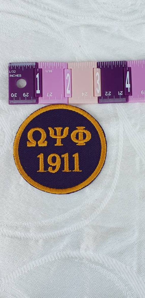 "Omega Psi Phi/1911 PATCH  3""inch round / deep purple duck cloth/Embroid Iron On Patch/ Embroidered  3 inch Round Iron On Patch"