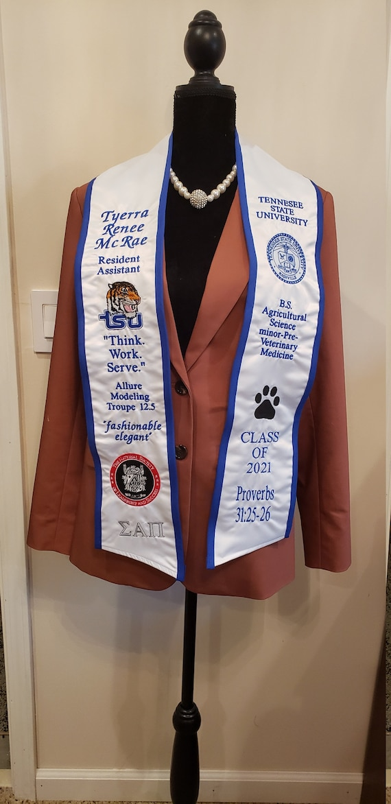 SATIN GRADUATION STOLE/Slant Bottom/Contrast Trim/Custom Embroidered Graduation Stole-Sash- Greek Letter /Monogrammed /Class of 2020-2021