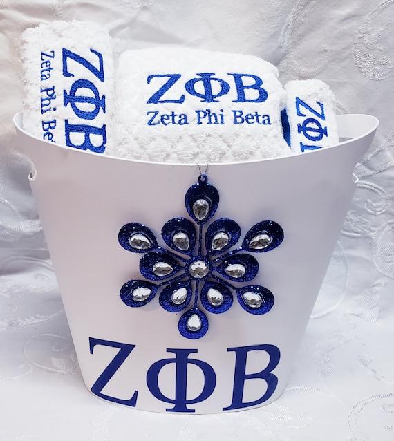 ZETA PHI Beta White Monogrammed Bath Towel Waste Basket Gift Set/ZPB  3 pc Bath Towel/Zeta Gift Set/Zeta Monogrammed Gifts