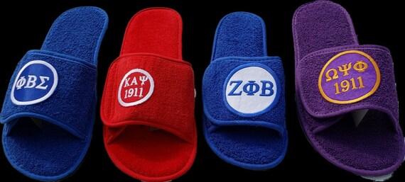 Chi Eta Phi, Kappa Alpha Psi,Sigma Gamma Rho, Zeta Phi Beta, Phi Beta Sigma, OMEGA PSI PHI Terry Velour Slippers w Embroidered Satin Patch