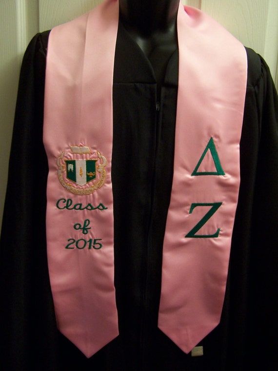 DELTA ZETA Pink  or Emerald Green Satin Graduation Stole -Embroidered w/Greek Letters &/or Class Year/Shield/Alpha Kappa Alpha Towel Set