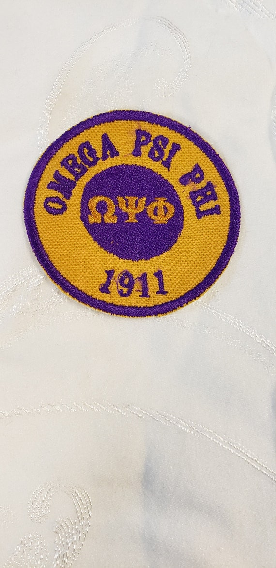 "Omega Psi Phi/Greek Letter PATCH  3"" inch round / GOLD Twill/ duck cloth/Embroid Iron On Patch/ Embroidered  3 inch Round Iron On Patch"