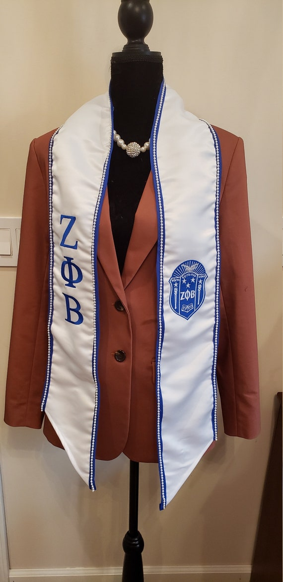 PEARL TRIMMED Zeta Phi Beta white satin graduation stole w royal blue trim/or Faux PEARL Trim Greek Letters &Shield w Tapered Neck