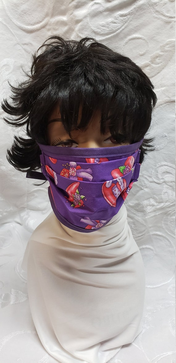 Red Hat Printed Cotton Fabric Face Mask/Red & Purple Cotton Print Face Mask/Washable pleated face mask/Reusable Mask/Dust Mask w Tie Straps