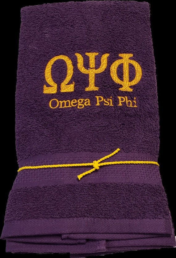 OMEGA PSI PHI Deep  Purple/2 pc Hand Towel Set/ One Omega Psi Phi Embroidered Hand Towel  or 2 piece Set
