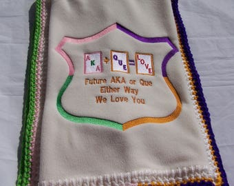 BABY BLANKET Future Fraternity/Sorority Custom Embroidered Fleece Blanket with Hand Crocheted Edge Alpha Delta Epsilon Kappa Omega Psi Phi