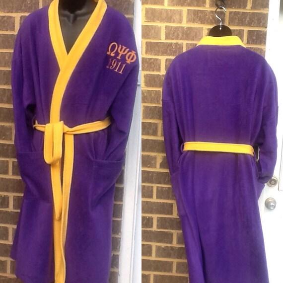 Omega Psi Phi Greek Letter Embroidered Gold Trimmed Purple Kimono  Fleece  Bathrobe One Size/Purple Fleece Kimono Bathrobe