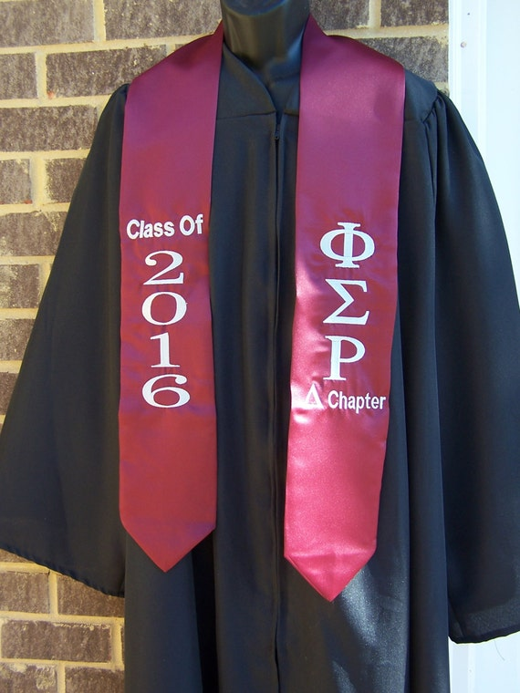 PHI SIGMA RHO Maroon or Grey Satin Graduation Stole w Greek Letter Embroidery/Maroon Graduation Stole/Greek Letter Stole/Arizona State Stole
