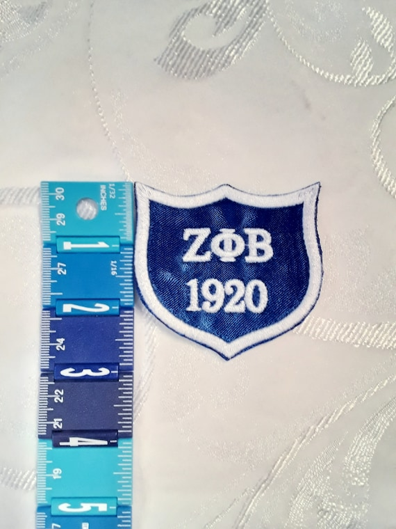Zeta Phi Beta Scalloped Shield Embroidered Greek Letter Patch/Blue Iron On Patch/Divine Nine/Zeta Patch/Finer Woman Patch/Zeta Iron On Patch