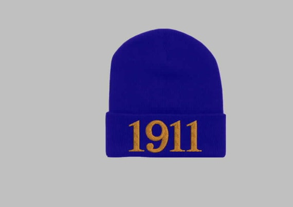 OMEGA PSI PHI, 1911 Greek Letter/Founding Year Monogrammed Acrylic Knit Beanie, Purple Beanie, Que Dog