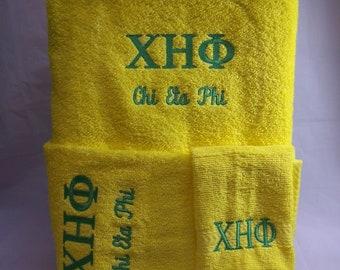CHI ETA PHI -Nurses Sorority- Embroidered Yellow 3 piece Towel Set (Bath, Hand and Wash)