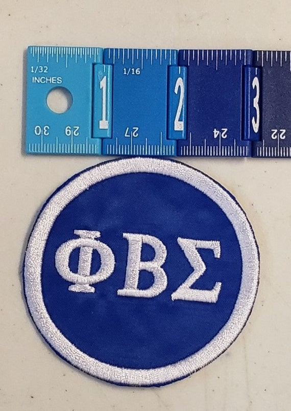 """Phi Beta Sigma Greek Letter Patch 3"""" inch round /Royal Blue Satin  Sigma Embroidered Iron On Patch/ Embroidered  3 inch Round Iron On Patch"""