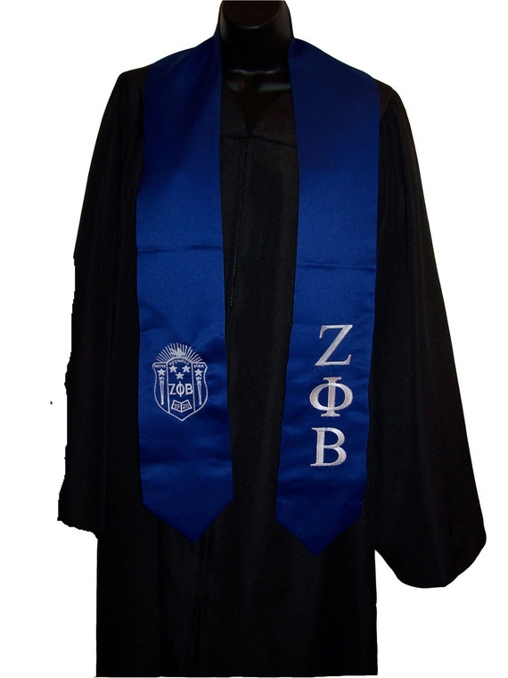 ZETA PHI BETA Sorority  Royal Blue or White Satin Graduation Stole w/Greek Letter Embroidery & Shield/Class of 2020 Graduation Gift