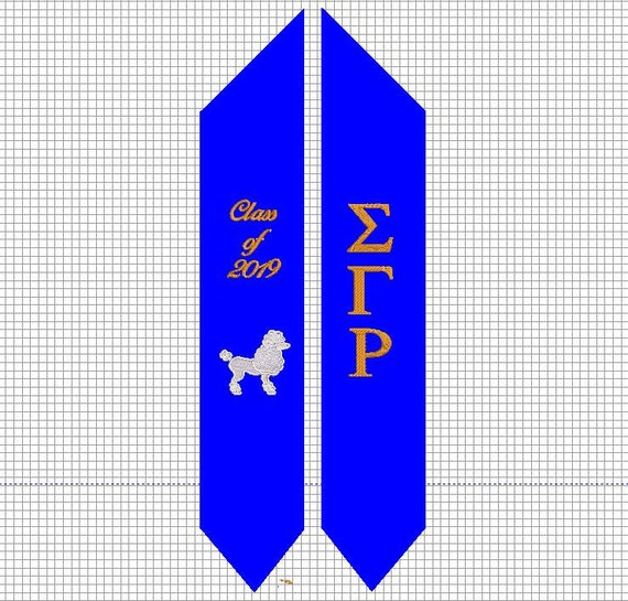 Custom Embroidered Royal Blue Graduation Stole w SGR Shield, Greek Letters, Poodle & Yellow Rose