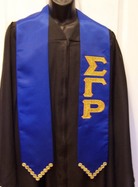 SIGMA GAMMA RHO Graduation stole w Greek Letter Glitter Flake/Bling/ Satin Graduation Stole-Royal Blue or Gold Graduation Stole Gift