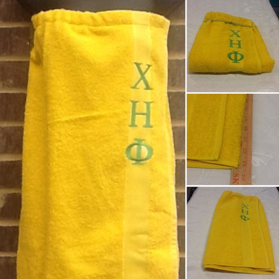 CHI ETA PHI shower wrap with Greek Letter Embroidery; Nurses Sorority Chi eta Phi Terry Pool, Spa, Gym,Shower Wrap; Yellow Shower Wrap
