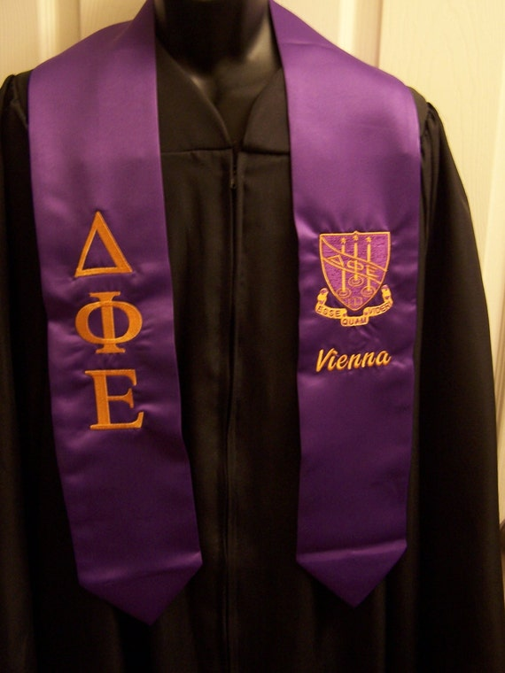 DELTA PHI EPSILON Purple or Gold Satin Graduation Stole w/Greek Letter Embroidery &/or Class Year/Shield