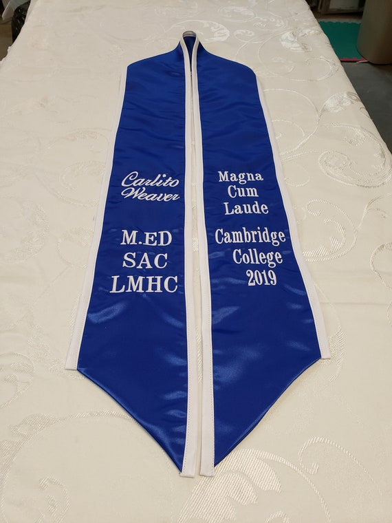 SATIN GRADUATION STOLE/Slant Bottom/Satin Trim/Custom Embroidered Graduation Stole-Sash- Greek Letter /Monogrammed /Class of 2019