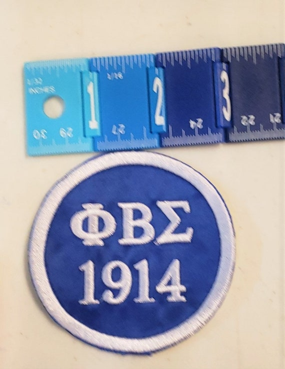"""Phi Beta Sigma Greek Letter/1914  Patch 3"""" inch round /Royal Blue Satin  Sigma Embroidered Iron On Patch/3 Inch Sigma Patch"""