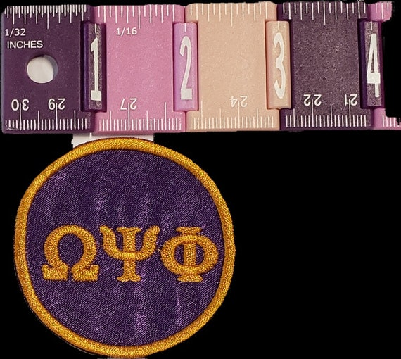 """Omega Psi Phi Greek Letter Patch 2"""" inch round / PURPLE SATIN OMEGA/Embroidered Iron On Patch/ Embroidered  2 inch Round Iron On Patch"""