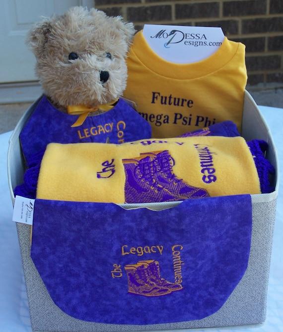 Future OMEGA PSI PHI Alpha Phi  Kappa Alpha Psi Fleece Blanket with Crochet Edge, Bib, Burp Cloth Tee Shirt 7 Piece Gift Set