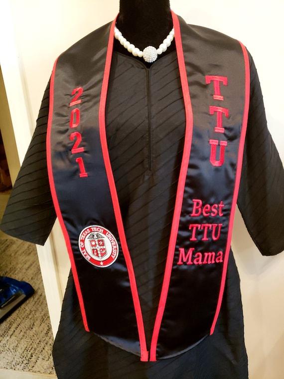 SATIN GRADUATION STOLE/Slant Bottom/Contrast Trim/Custom Embroidered Graduation Stole-Sash- Greek Letter /Monogrammed /Class of 2021-2022