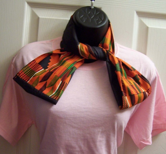 Kente Cloth & Black,  Printed African fabric/Orange/Green/Black Kente Cloth Infinity Scarf/Cowl