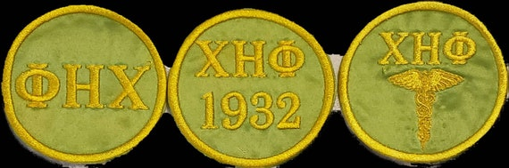 CHI ETA PHI Lime green w yellow embroidery/Greek letters & 1932 Founding year/Caduceus Patch/Chi Eta Phi Nurses Sorority Patch