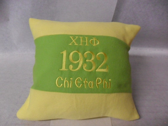 "Chi Eta Phi Nurses Sorority Greek Letter 16"" Color Blocked Green & Yellow Pillow"