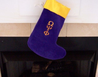 Greek Letter Embroidered Christmas in July Sale Stocking, Alpha Omega Psi Phi , Sigma Gamma Rho, Kappa Alpha Psi
