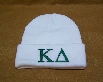 KAPPA DELTA  Embroidered Greek Letter Monogrammed Acrylic Knit Beanie