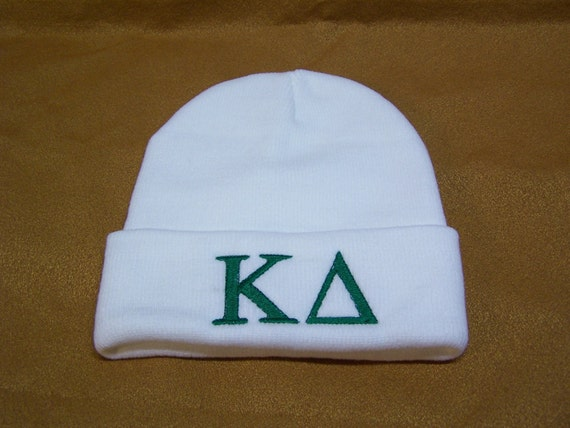 KAPPA DELTA Greek Letter Embroidered Greek Letter Monogrammed Acrylic Knit Beanie/White Kappa Delta Beanie w emerald embroidery