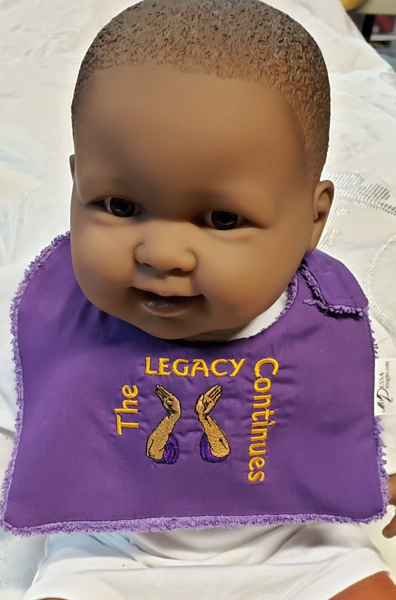 Future OMEGA PSI PHI Hand Sign Legacy Continues/Cotton/Terrycloth New Baby Bib/Embroidered Bib/Reversible Boy's Bib/Shower Gift/Photo Prop